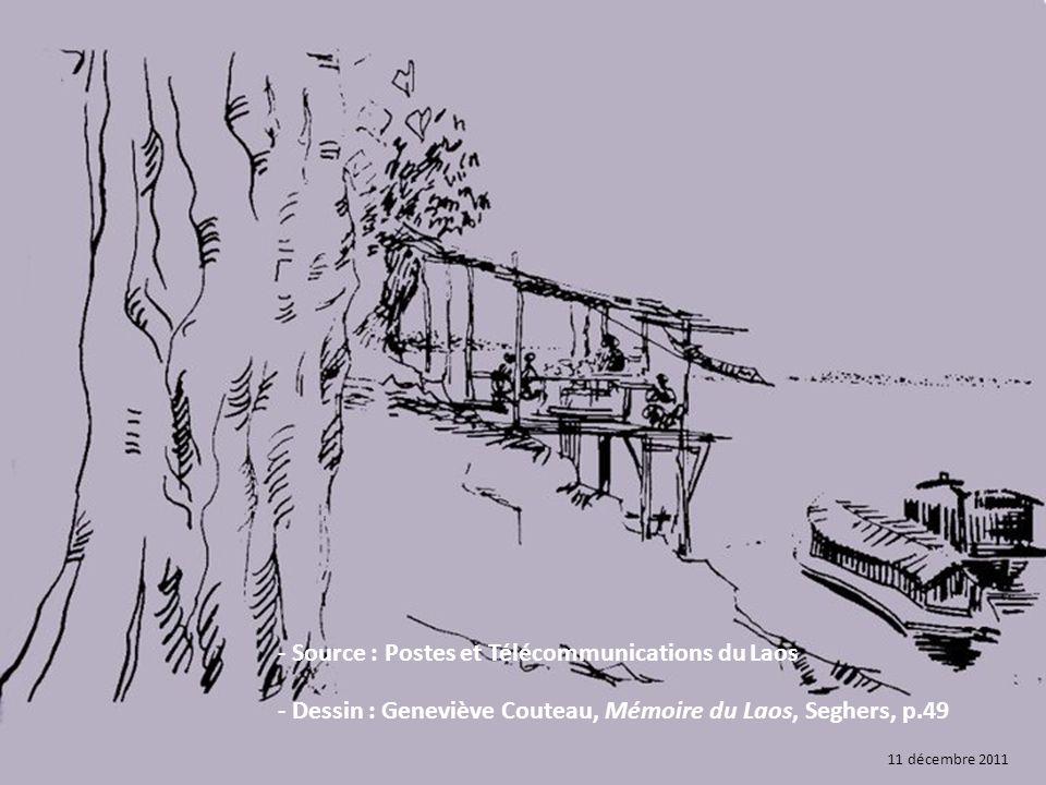 - Source : Postes et Télécommunications du Laos - Dessin : Geneviève Couteau, Mémoire du Laos, Seghers, p.49 11 décembre 2011