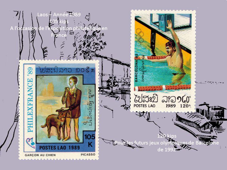 Laos – Année 1989 105 kips A l'occasion de l'exposition philatélique en France 120 kips Pour les futurs jeux olympiques de Barcelone de 1992