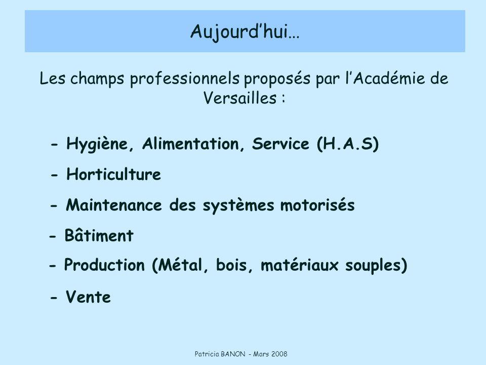 - Hygiène, Alimentation, Service (H.A.S) Aujourd'hui… Patricia BANON - Mars 2008 - Horticulture - Maintenance des systèmes motorisés - Bâtiment - Prod