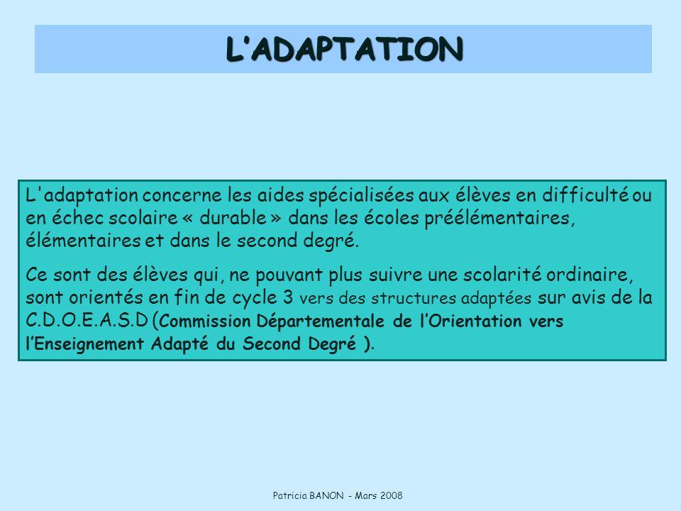 L adaptation concerne les aides spécialisées aux élèves en difficulté ou en échec scolaire « durable » dans les écoles préélémentaires, élémentaires et dans le second degré.