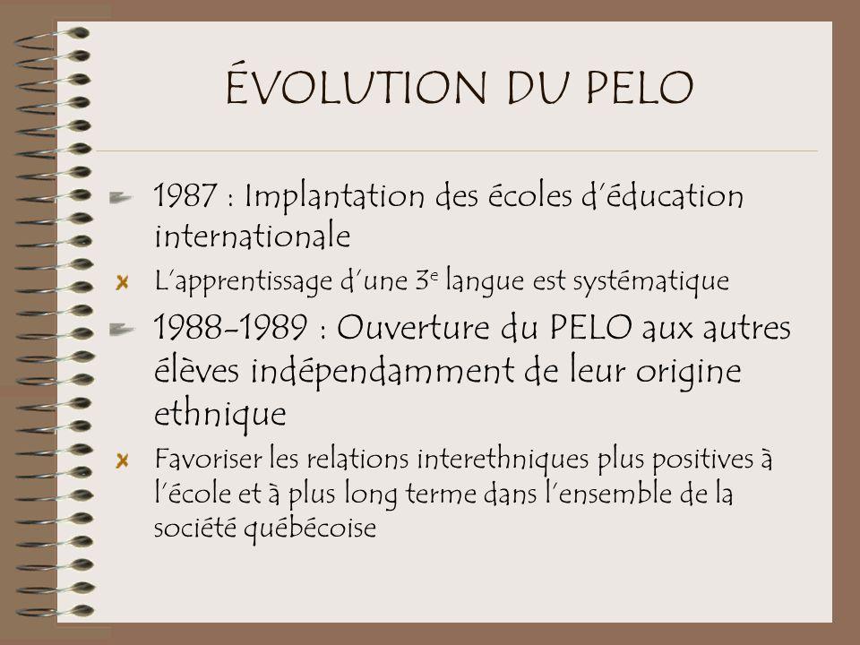ÉVOLUTION DU PELO 1987 : Implantation des écoles d'éducation internationale L'apprentissage d'une 3 e langue est systématique 1988-1989 : Ouverture du PELO aux autres élèves indépendamment de leur origine ethnique Favoriser les relations interethniques plus positives à l'école et à plus long terme dans l'ensemble de la société québécoise