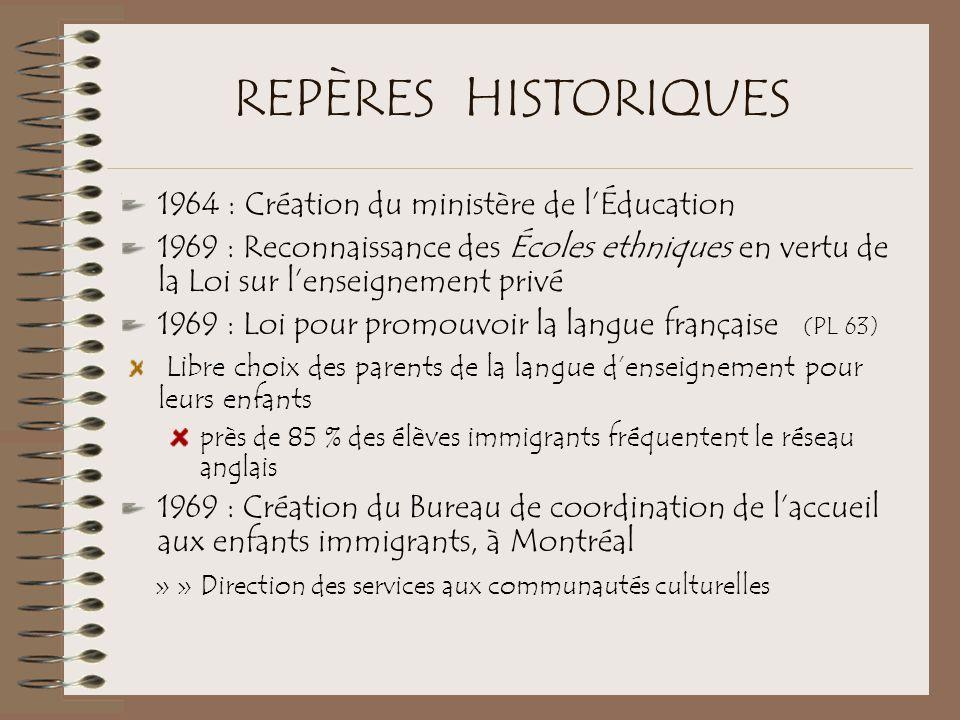 REPÈRES HISTORIQUES 1964 : Création du ministère de l'Éducation 1969 : Reconnaissance des Écoles ethniques en vertu de la Loi sur l'enseignement privé