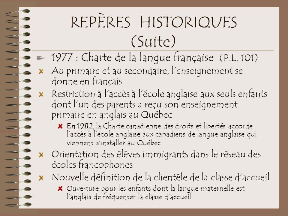 REPÈRES HISTORIQUES (Suite) 1977 : Charte de la langue française (P.L. 101) Au primaire et au secondaire, l'enseignement se donne en français Restrict