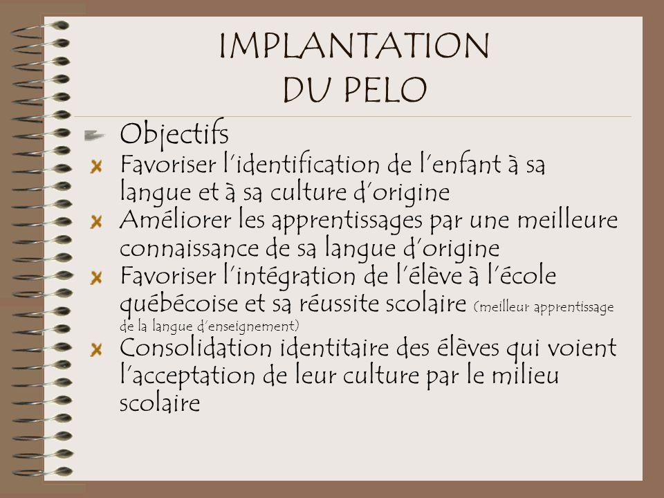 IMPLANTATION DU PELO Objectifs Favoriser l'identification de l'enfant à sa langue et à sa culture d'origine Améliorer les apprentissages par une meill