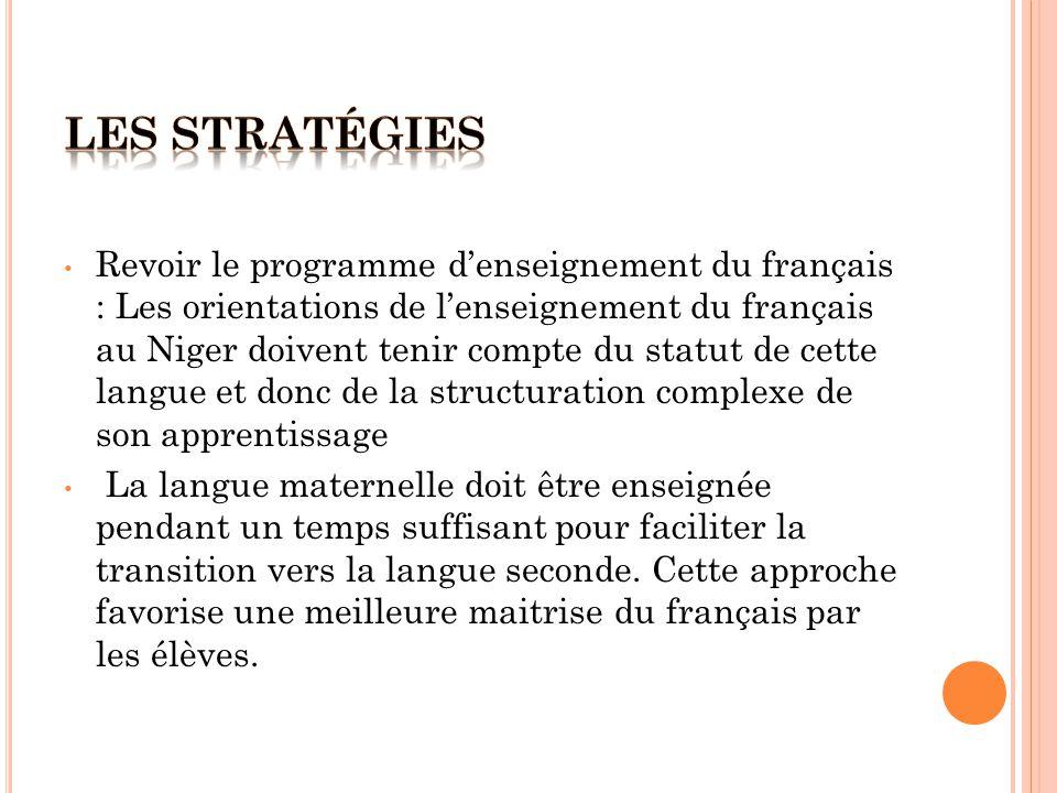 Revoir le programme d'enseignement du français : Les orientations de l'enseignement du français au Niger doivent tenir compte du statut de cette langue et donc de la structuration complexe de son apprentissage La langue maternelle doit être enseignée pendant un temps suffisant pour faciliter la transition vers la langue seconde.