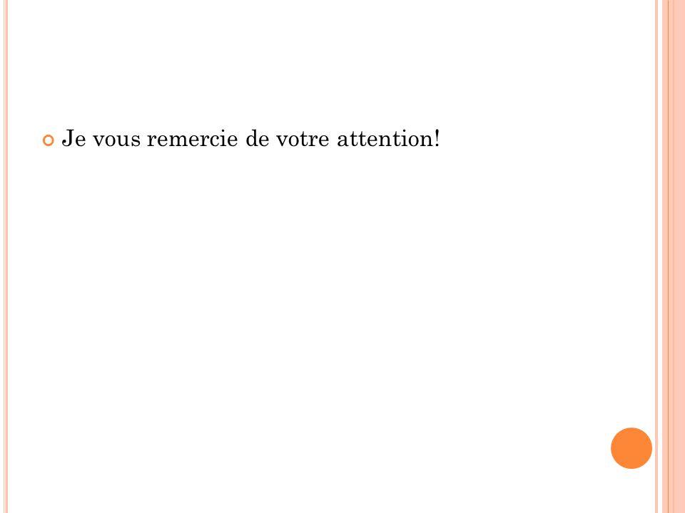 Je vous remercie de votre attention!