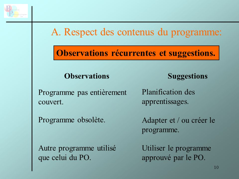 10 A.Respect des contenus du programme: Observations récurrentes et suggestions.