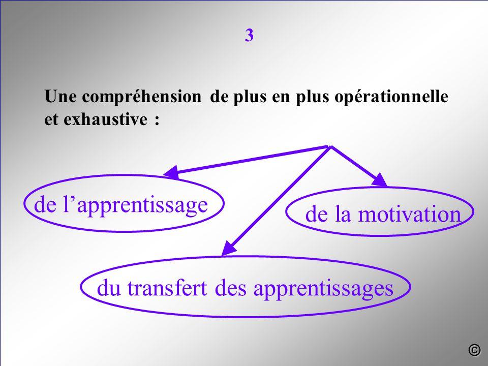 Une compréhension de plus en plus opérationnelle et exhaustive : de l'apprentissage du transfert des apprentissages de la motivation 3 ©