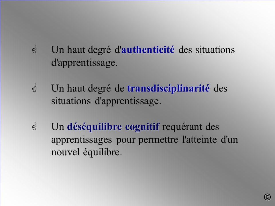 authenticité G Un haut degré d'authenticité des situations d'apprentissage. transdisciplinarité G Un haut degré de transdisciplinarité des situations
