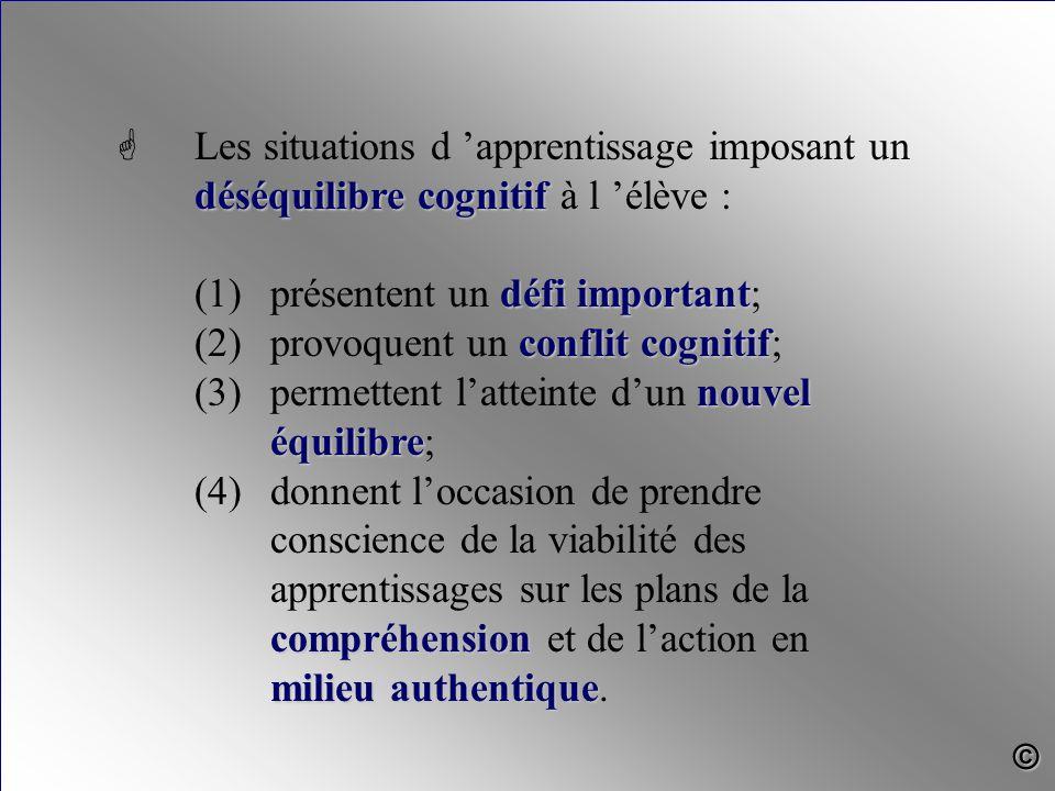 déséquilibre cognitif G Les situations d 'apprentissage imposant un déséquilibre cognitif à l 'élève : défi important (1)présentent un défi important;