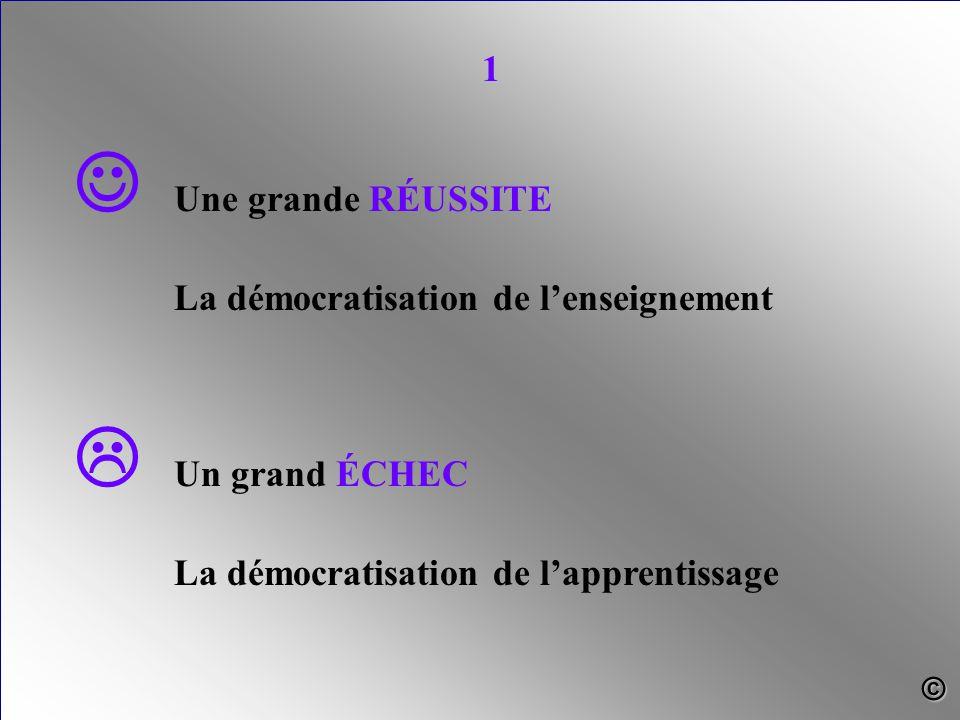 Une grande RÉUSSITE La démocratisation de l'enseignement  Un grand ÉCHEC La démocratisation de l'apprentissage 1 ©