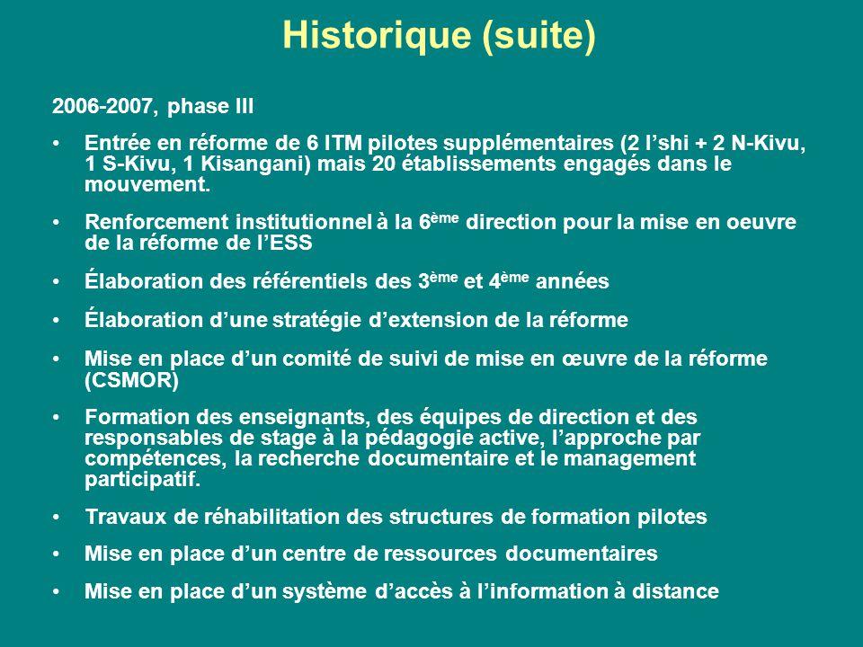 2006-2007, phase III Entrée en réforme de 6 ITM pilotes supplémentaires (2 l'shi + 2 N-Kivu, 1 S-Kivu, 1 Kisangani) mais 20 établissements engagés dan