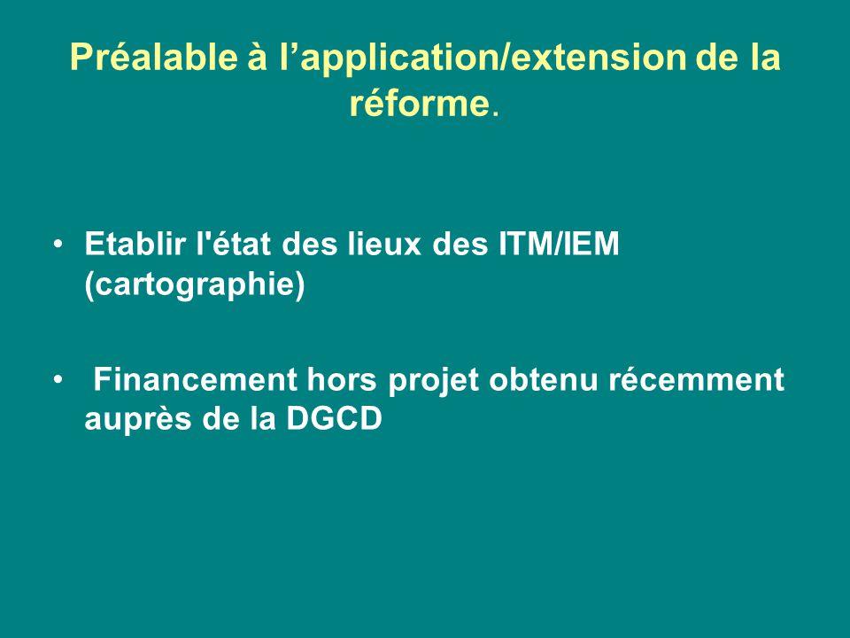 Préalable à l'application/extension de la réforme. Etablir l'état des lieux des ITM/IEM (cartographie) Financement hors projet obtenu récemment auprès