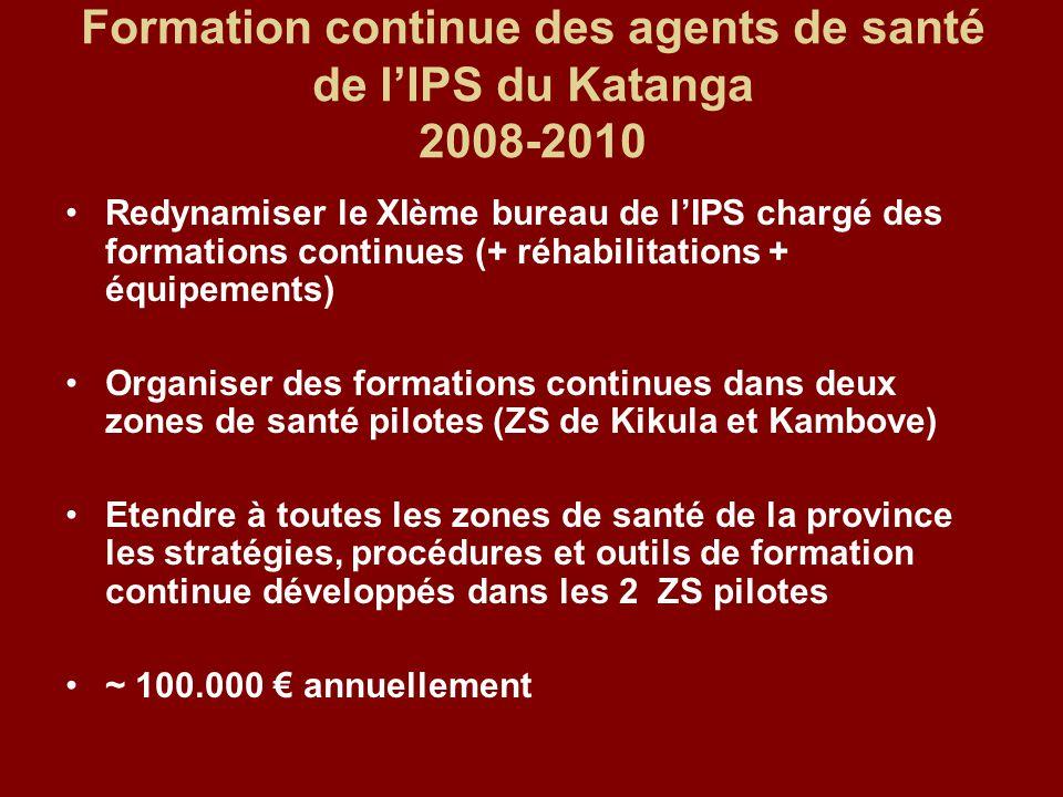 Formation continue des agents de santé de l'IPS du Katanga 2008-2010 Redynamiser le XIème bureau de l'IPS chargé des formations continues (+ réhabilit