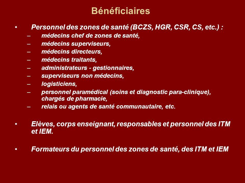 Bénéficiaires Personnel des zones de santé (BCZS, HGR, CSR, CS, etc.) : –médecins chef de zones de santé, –médecins superviseurs, –médecins directeurs