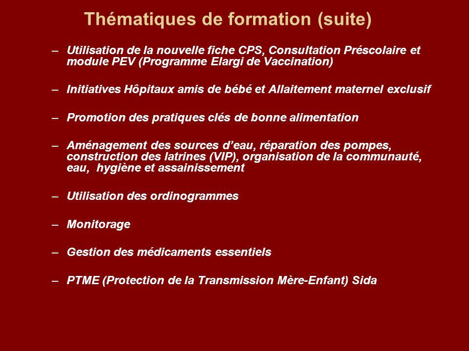 Thématiques de formation (suite) –Utilisation de la nouvelle fiche CPS, Consultation Préscolaire et module PEV (Programme Elargi de Vaccination) –Init
