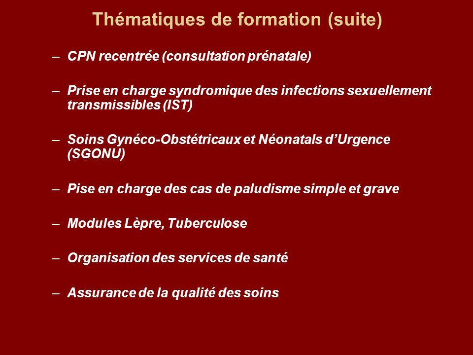 Thématiques de formation (suite) –CPN recentrée (consultation prénatale) –Prise en charge syndromique des infections sexuellement transmissibles (IST)