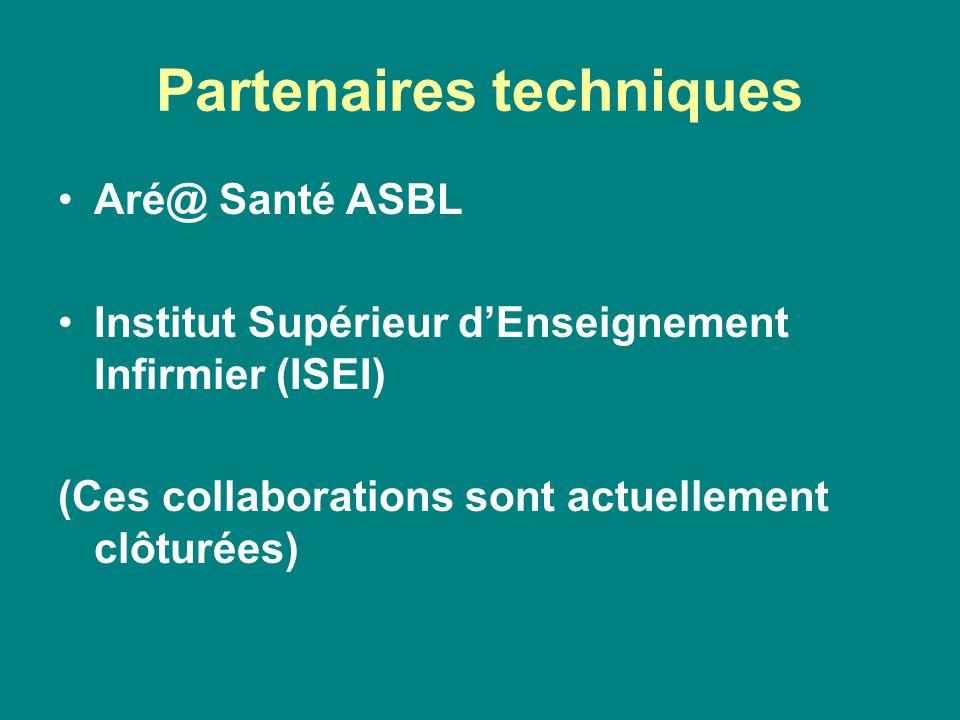 Partenaires techniques Aré@ Santé ASBL Institut Supérieur d'Enseignement Infirmier (ISEI) (Ces collaborations sont actuellement clôturées)