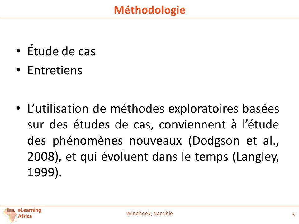 Méthodologie Étude de cas Entretiens L'utilisation de méthodes exploratoires basées sur des études de cas, conviennent à l'étude des phénomènes nouveaux (Dodgson et al., 2008), et qui évoluent dans le temps (Langley, 1999).