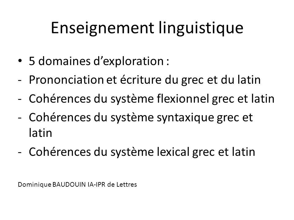 Enseignement linguistique 5 domaines d'exploration : -Prononciation et écriture du grec et du latin -Cohérences du système flexionnel grec et latin -C