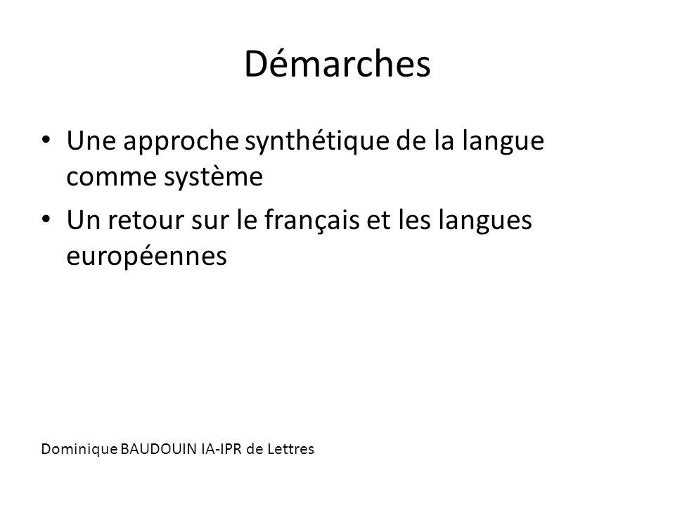 Démarches Une approche synthétique de la langue comme système Un retour sur le français et les langues européennes Dominique BAUDOUIN IA-IPR de Lettre