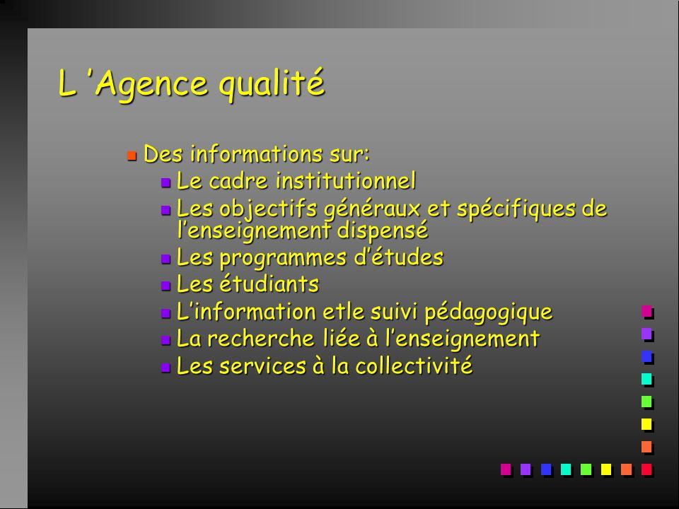 L 'Agence qualité n Des informations sur: n Le cadre institutionnel n Les objectifs généraux et spécifiques de l'enseignement dispensé n Les programmes d'études n Les étudiants n L'information etle suivi pédagogique n La recherche liée à l'enseignement n Les services à la collectivité