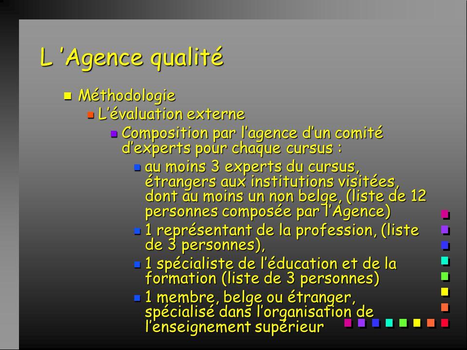 L 'Agence qualité n Méthodologie n L'évaluation externe n Composition par l'agence d'un comité d'experts pour chaque cursus : n au moins 3 experts du cursus, étrangers aux institutions visitées, dont au moins un non belge, (liste de 12 personnes composée par l'Agence) n 1 représentant de la profession, (liste de 3 personnes), n 1 spécialiste de l'éducation et de la formation (liste de 3 personnes) n 1 membre, belge ou étranger, spécialisé dans l'organisation de l'enseignement supérieur