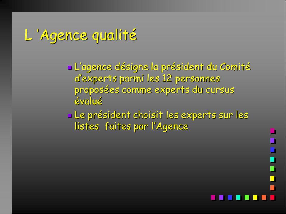 L 'Agence qualité n L'agence désigne la président du Comité d'experts parmi les 12 personnes proposées comme experts du cursus évalué n Le président choisit les experts sur les listes faites par l'Agence