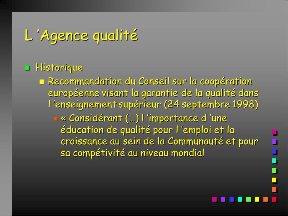 L 'Agence qualité n Historique n Recommandation du Conseil sur la coopération européenne visant la garantie de la qualité dans l 'enseignement supérieur (24 septembre 1998) n « Considérant (…) l 'importance d 'une éducation de qualité pour l 'emploi et la croissance au sein de la Communauté et pour sa compétivité au niveau mondial