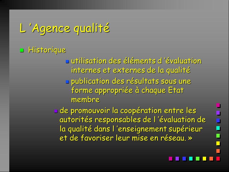 L 'Agence qualité n Historique n La déclaration de Bologne (19 juin 1999) n 6 objectifs dont : n promotion de la coopération européenne en matière d 'évaluation de la qualité en vue d 'élaborer des critères et des méthodologies comparables