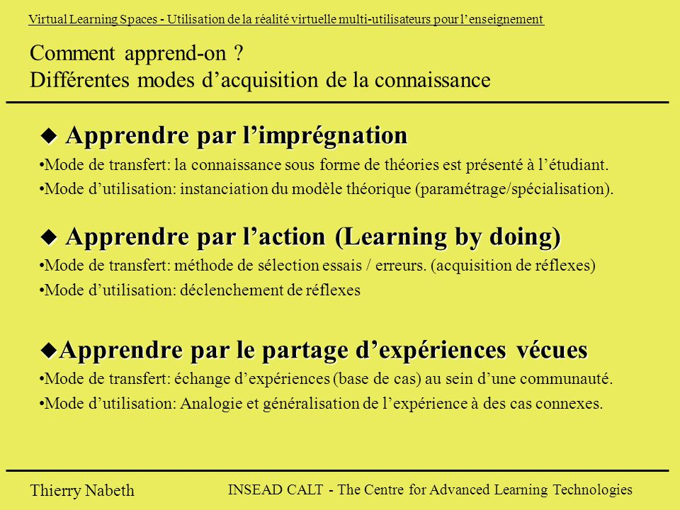 INSEAD CALT - The Centre for Advanced Learning Technologies Thierry Nabeth Virtual Learning Spaces - Utilisation de la réalité virtuelle multi-utilisateurs pour l'enseignement Comment apprend-on .