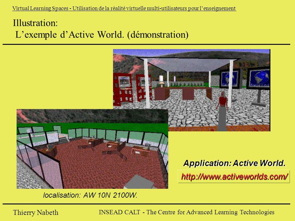 INSEAD CALT - The Centre for Advanced Learning Technologies Thierry Nabeth Virtual Learning Spaces - Utilisation de la réalité virtuelle multi-utilisateurs pour l'enseignement Illustration: L'exemple d'Active World.