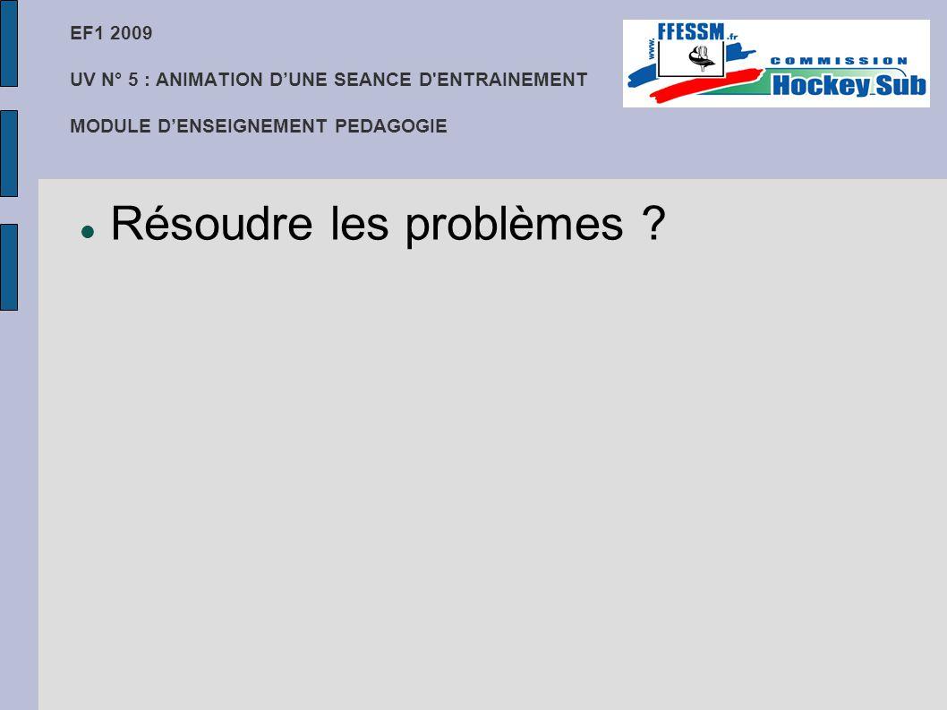 EF1 2009 UV N° 5 : ANIMATION D'UNE SEANCE D'ENTRAINEMENT MODULE D'ENSEIGNEMENT PEDAGOGIE Résoudre les problèmes ?