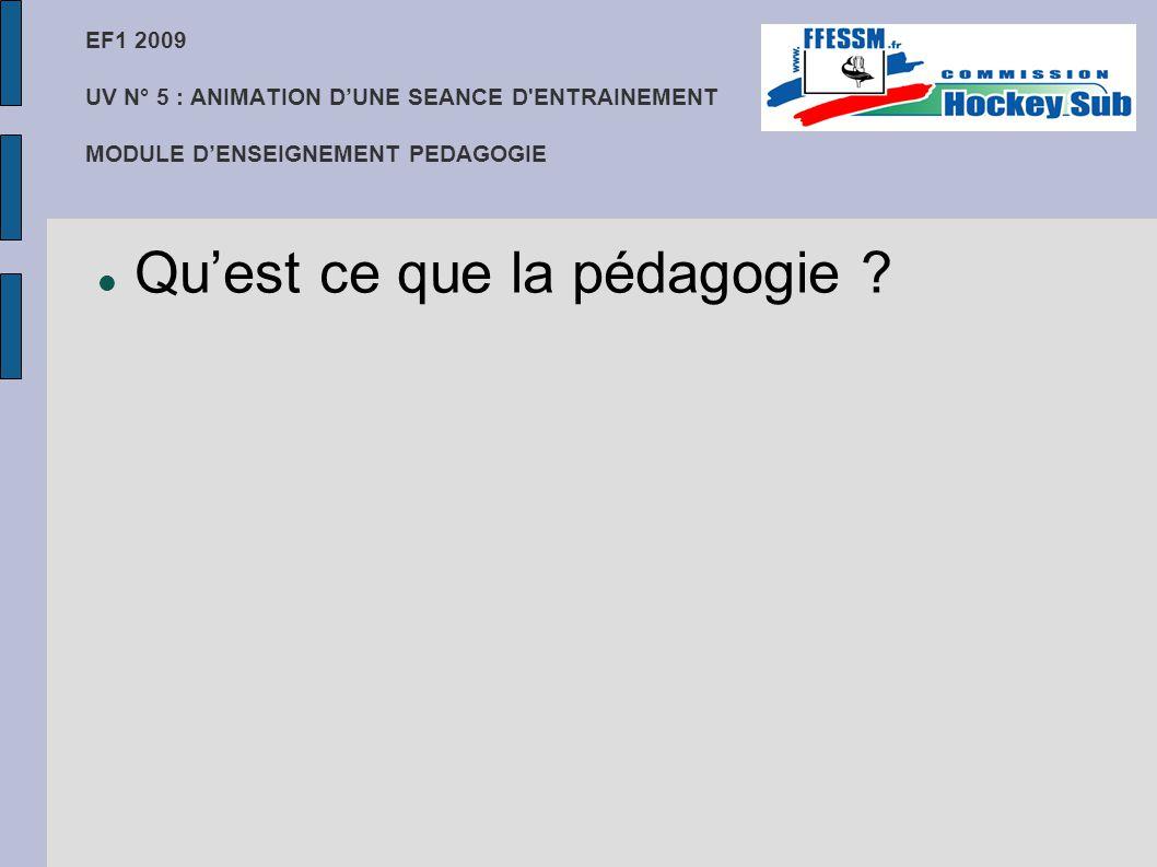 EF1 2009 UV N° 5 : ANIMATION D'UNE SEANCE D'ENTRAINEMENT MODULE D'ENSEIGNEMENT PEDAGOGIE Qu'est ce que la pédagogie ?