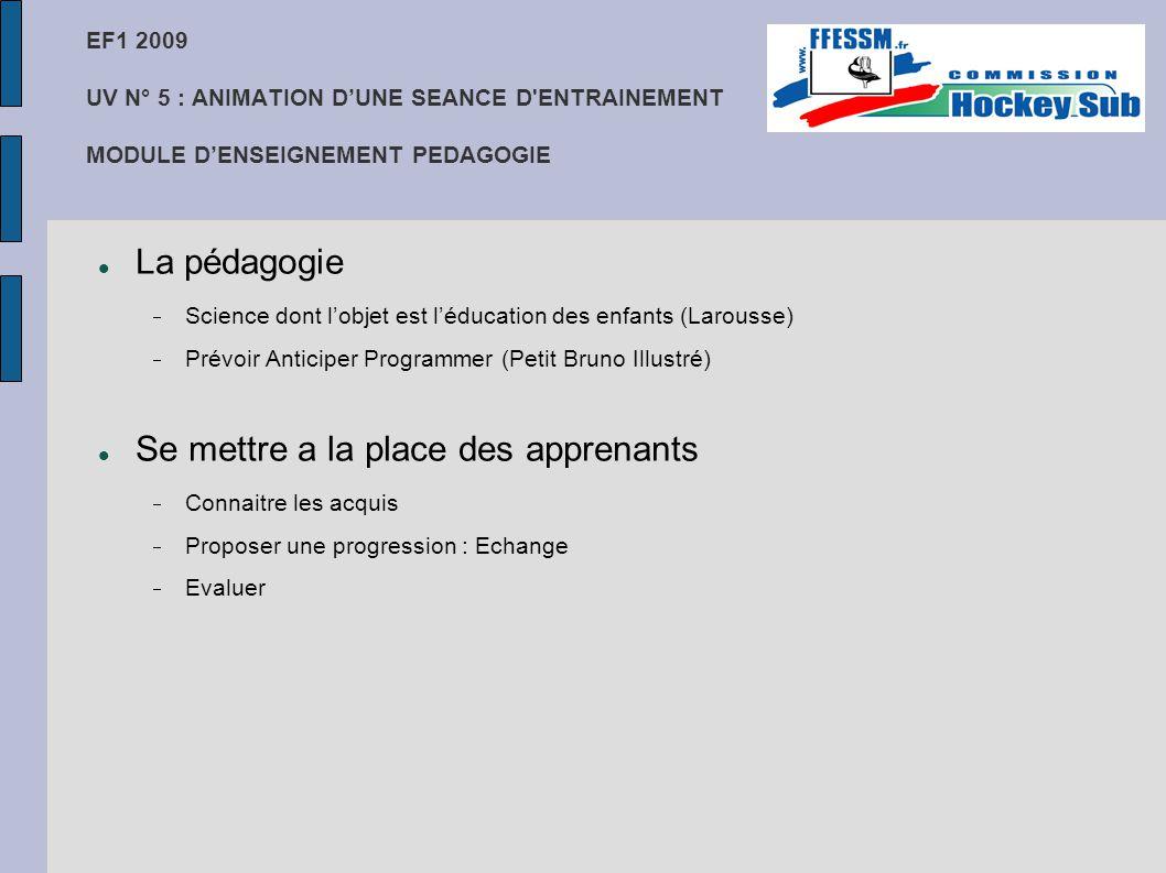 EF1 2009 UV N° 5 : ANIMATION D'UNE SEANCE D'ENTRAINEMENT MODULE D'ENSEIGNEMENT PEDAGOGIE La pédagogie  Science dont l'objet est l'éducation des enfan