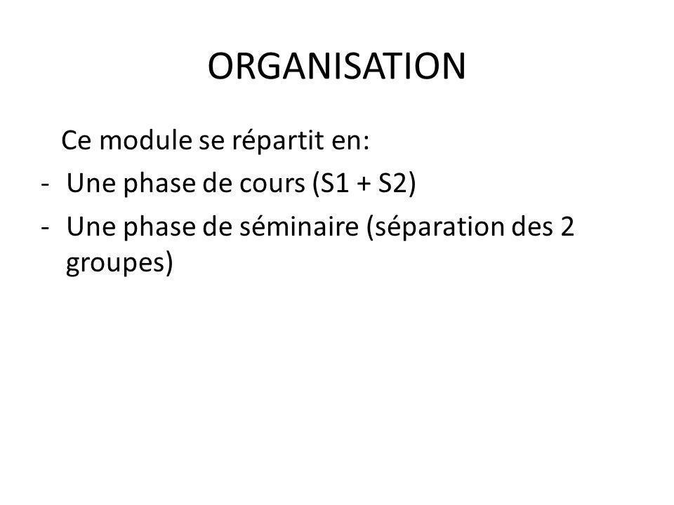ORGANISATION Ce module se répartit en: -Une phase de cours (S1 + S2) -Une phase de séminaire (séparation des 2 groupes)