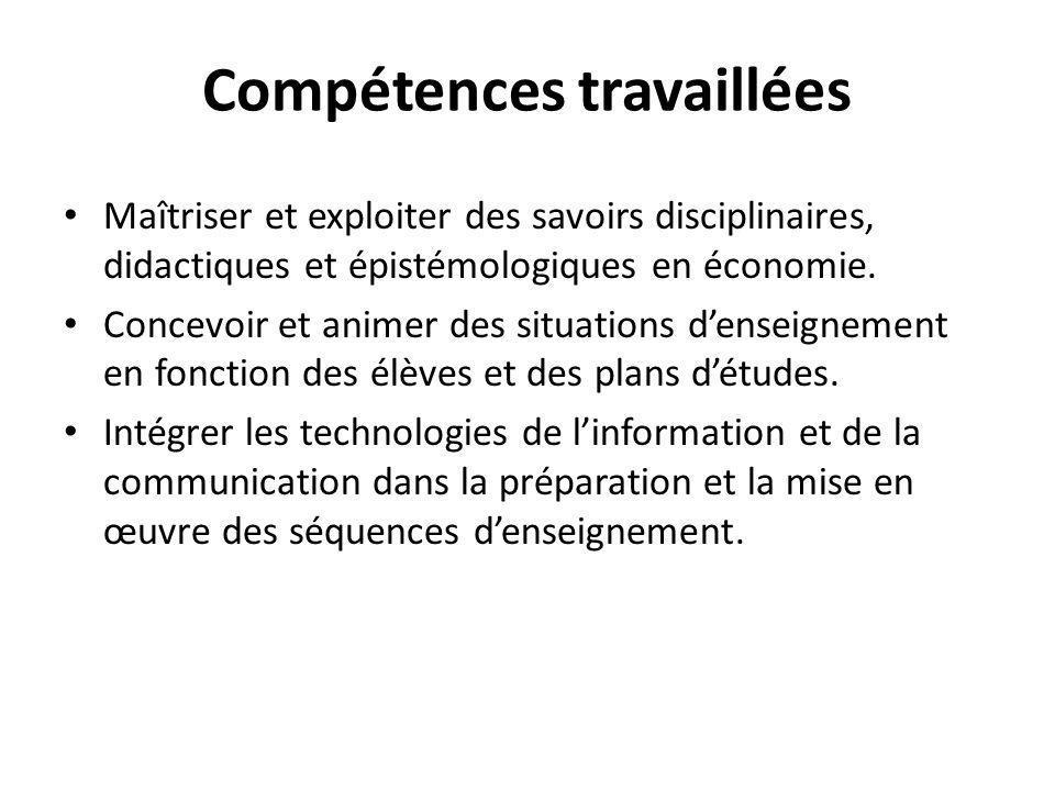 Compétences travaillées Maîtriser et exploiter des savoirs disciplinaires, didactiques et épistémologiques en économie.