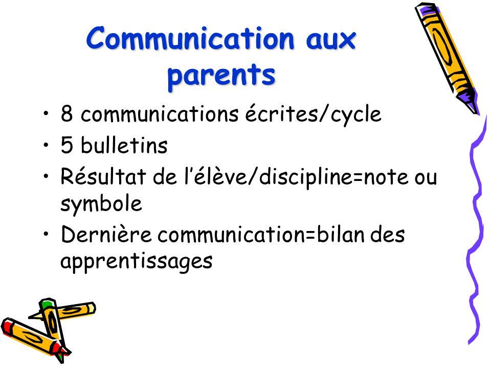 Communication aux parents 8 communications écrites/cycle 5 bulletins Résultat de l'élève/discipline=note ou symbole Dernière communication=bilan des a