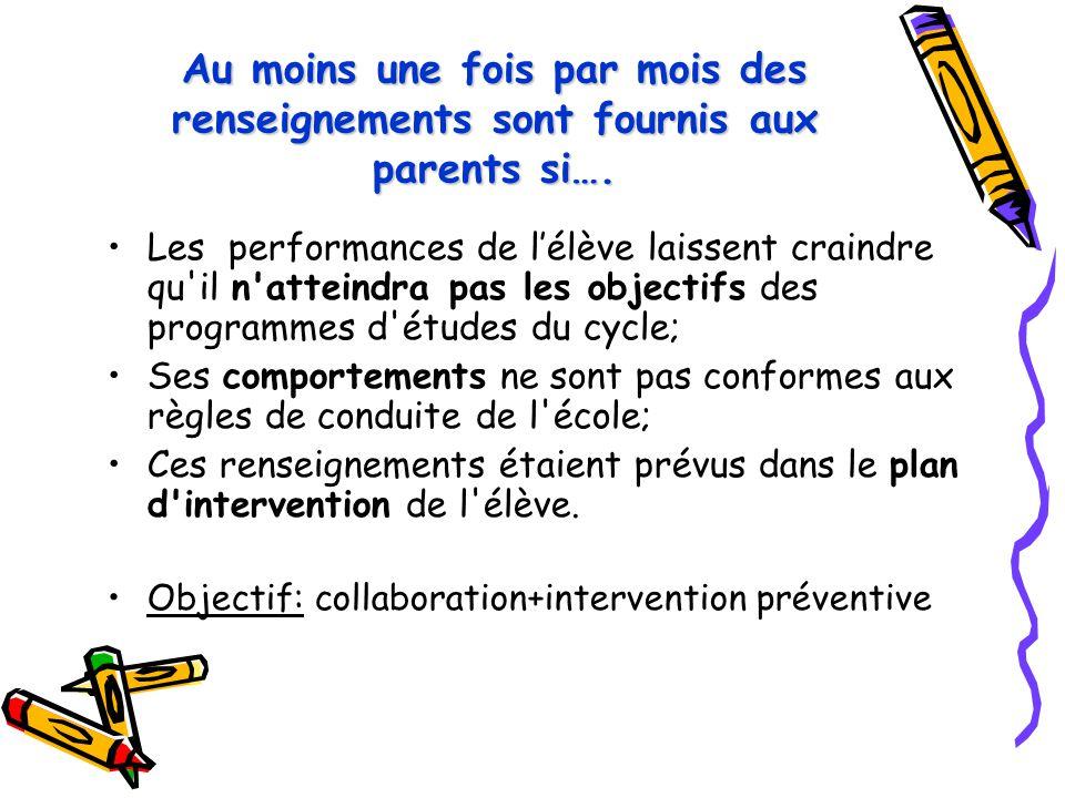 Au moins une fois par mois des renseignements sont fournis aux parents si…. Les performances de l'élève laissent craindre qu'il n'atteindra pas les ob