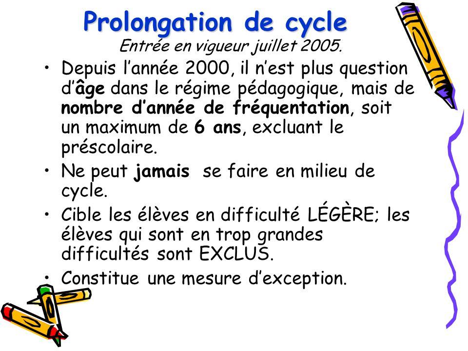Prolongation de cycle Prolongation de cycle Entrée en vigueur juillet 2005. Depuis l'année 2000, il n'est plus question d'âge dans le régime pédagogiq