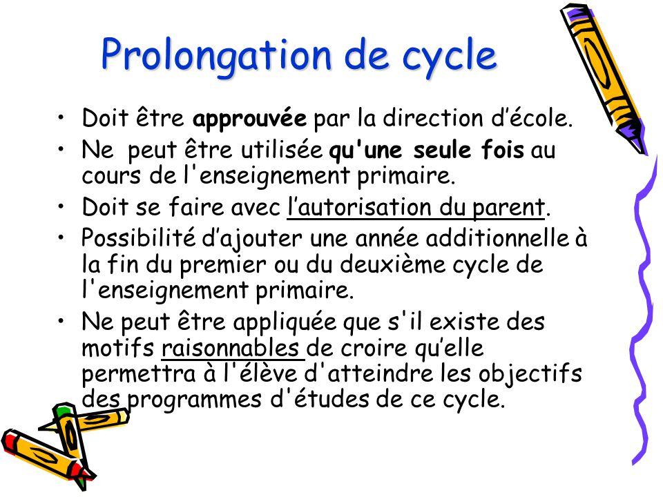 Prolongation de cycle Doit être approuvée par la direction d'école. Ne peut être utilisée qu'une seule fois au cours de l'enseignement primaire. Doit