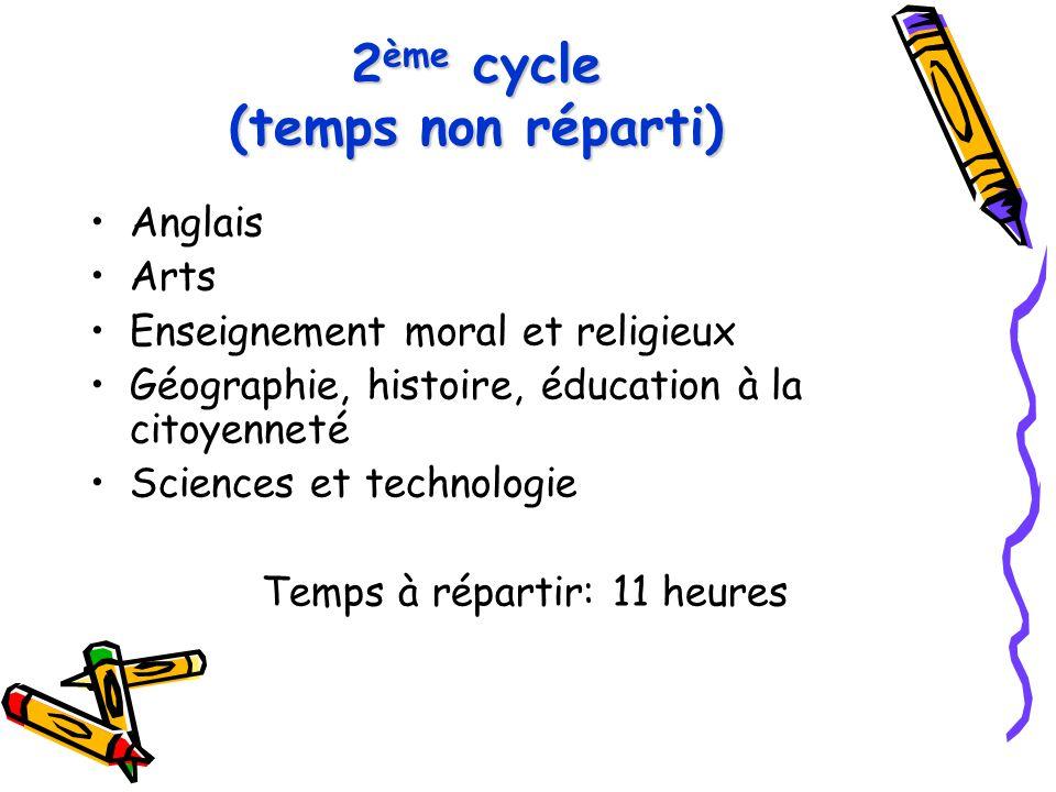 2 ème cycle (temps non réparti) Anglais Arts Enseignement moral et religieux Géographie, histoire, éducation à la citoyenneté Sciences et technologie