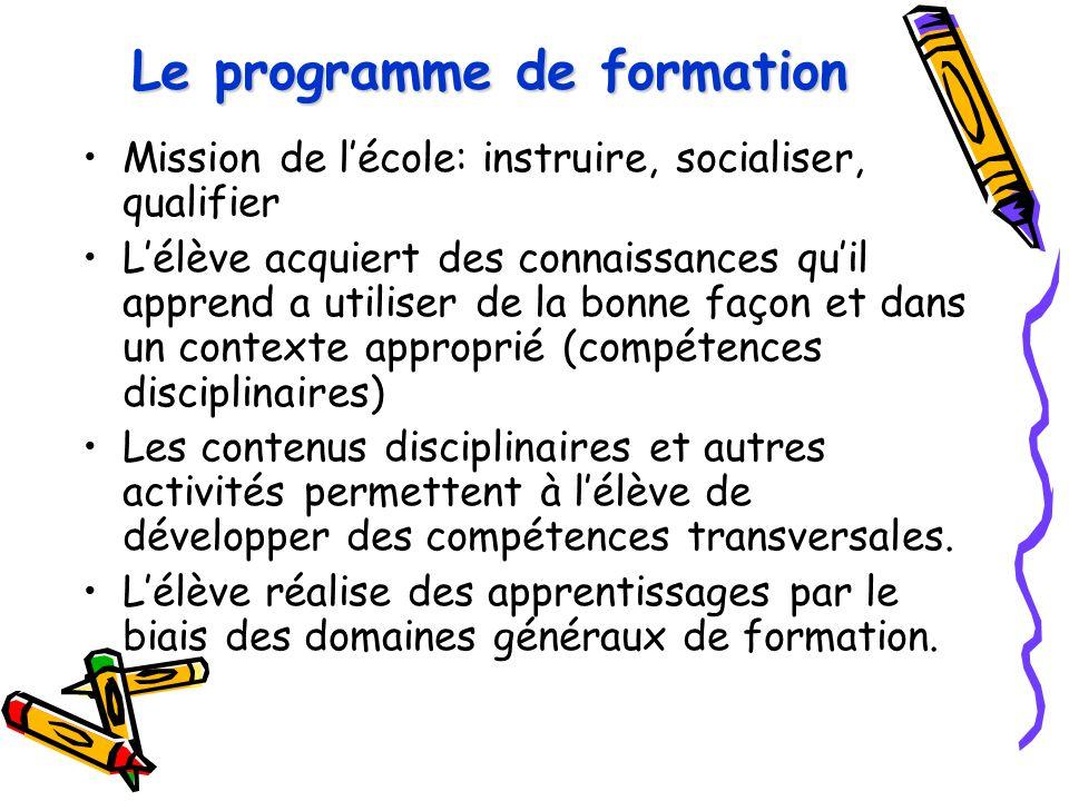 Le programme de formation Mission de l'école: instruire, socialiser, qualifier L'élève acquiert des connaissances qu'il apprend a utiliser de la bonne