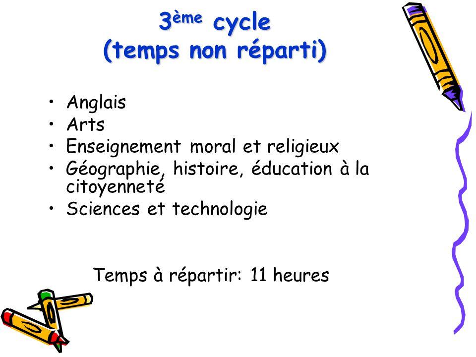 3 ème cycle (temps non réparti) Anglais Arts Enseignement moral et religieux Géographie, histoire, éducation à la citoyenneté Sciences et technologie