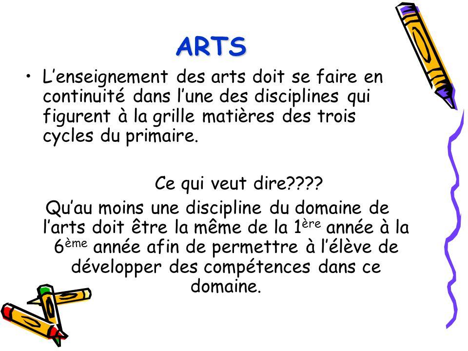 ARTS L'enseignement des arts doit se faire en continuité dans l'une des disciplines qui figurent à la grille matières des trois cycles du primaire. Ce