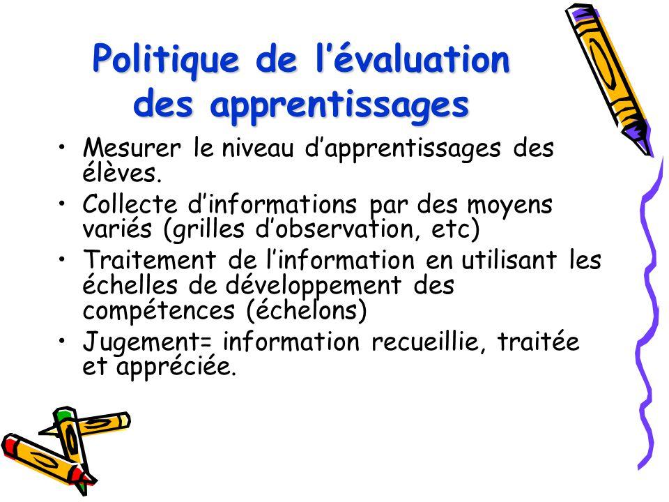 Politique de l'évaluation des apprentissages Mesurer le niveau d'apprentissages des élèves. Collecte d'informations par des moyens variés (grilles d'o