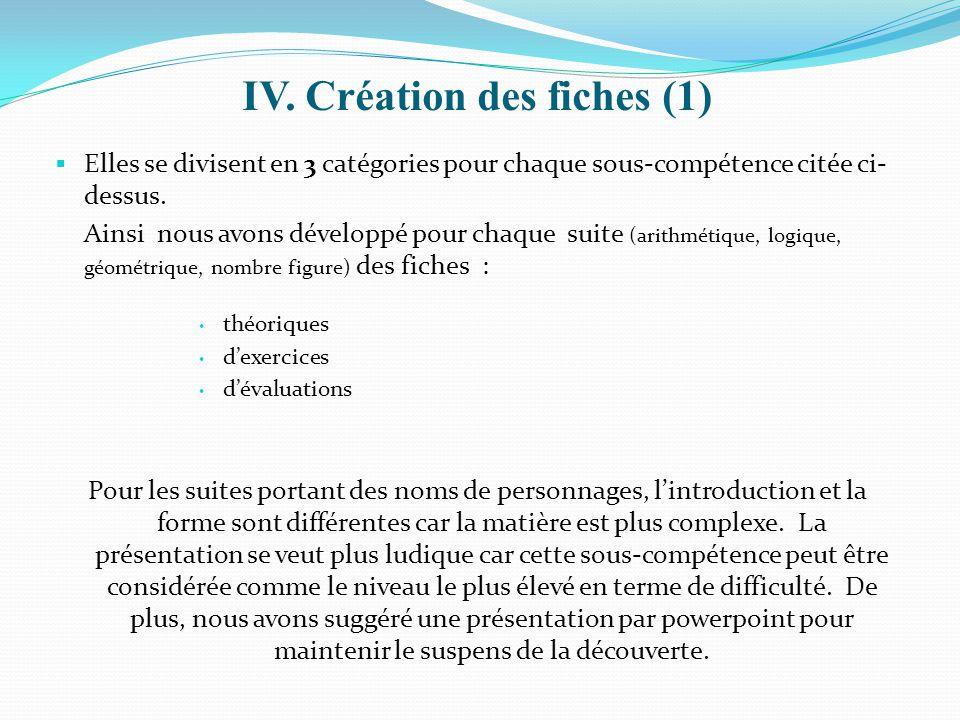 IV. Création des fiches (1)  Elles se divisent en 3 catégories pour chaque sous-compétence citée ci- dessus. Ainsi nous avons développé pour chaque s