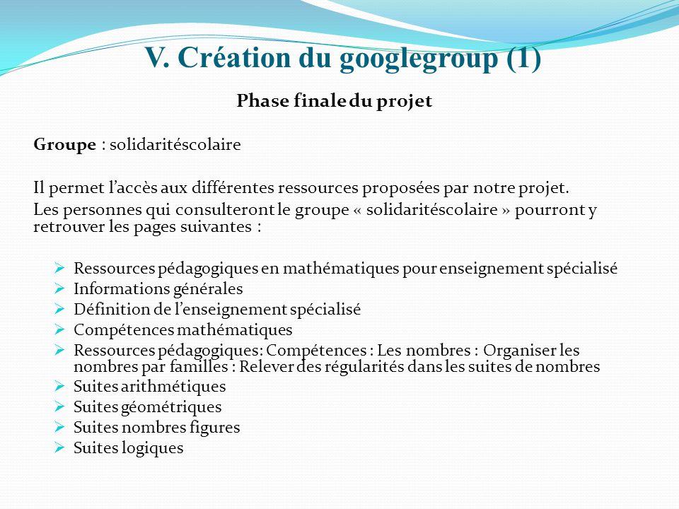 V. Création du googlegroup (1) Phase finale du projet Groupe : solidaritéscolaire Il permet l'accès aux différentes ressources proposées par notre pro
