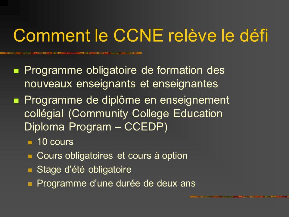 Comment le CCNE relève le défi Programme obligatoire de formation des nouveaux enseignants et enseignantes Programme de diplôme en enseignement collég