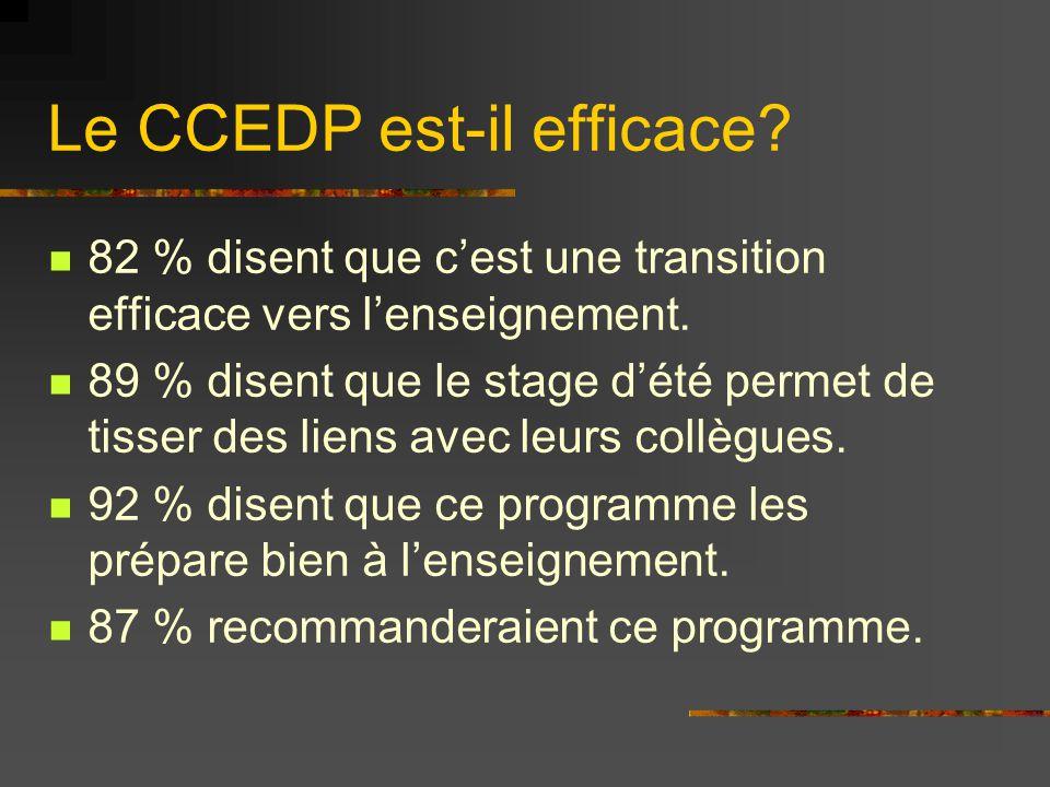 Le CCEDP est-il efficace? 82 % disent que c'est une transition efficace vers l'enseignement. 89 % disent que le stage d'été permet de tisser des liens